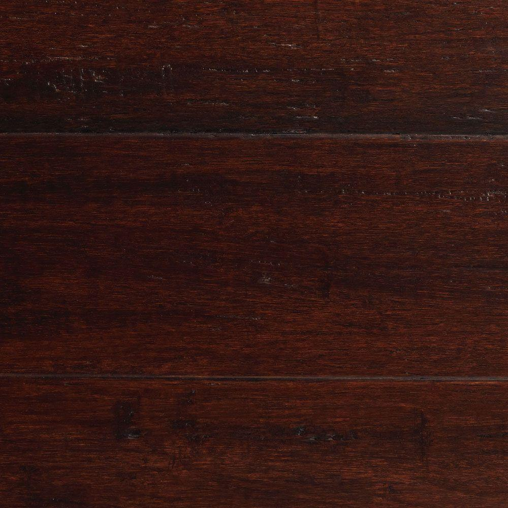 Home Decorators Collection Hand Scraped Strand Woven Dark Mahogany 3/8 in. T x 5-1/8 in. W x 36 in. L Engineered Click Bamboo Flooring