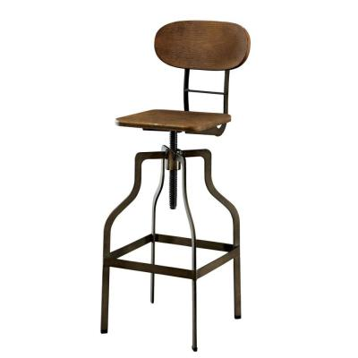 Industrial Style Brown Wooden Swivel Bar Stool with Black Metal Base