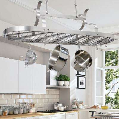Handcrafted Scroll Arm Oval Ceiling Pot Rack with 24 Hooks Stainless Steel