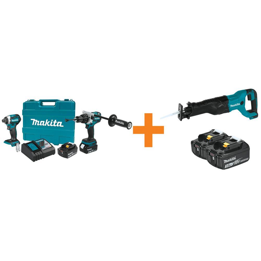 18V LXT Lithium-Ion BL Cordless Hammer Drill/Impact Driver Combo Kit w/BONUS 18V Cordless ReciproSaw and 18V Battery 2Pk