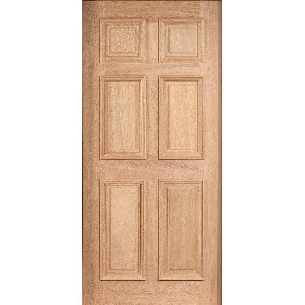 null 30 in. x 80 in. Solid Mahogany Type Unfinished 6-Panel Front Door Slab