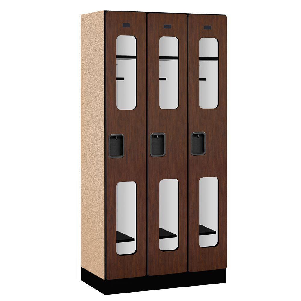 Salsbury Industries S-31000 Series 36 in. W x 76 in. H x 18 in. D Single Tier See-Through Designer Wood Locker in Mahogany