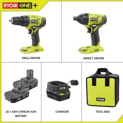 18-Volt ONE+ Lithium-Ion Cordless 2-Tool Combo Kit with (2) 1.5 Ah Batteries, 18-Volt Charger, and Bag