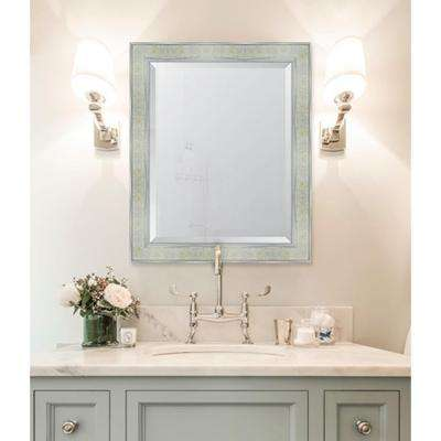 28 in. x 34 in. Framed Pearl and Silver Mirror