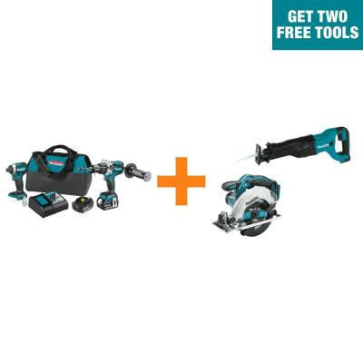 18-Volt LXT Brushless 2-Pc Combo Kit 5.0Ah with bonus 18V LXT Reciprocating Saw and 18V LXT 6-1/2 in. Circular Saw