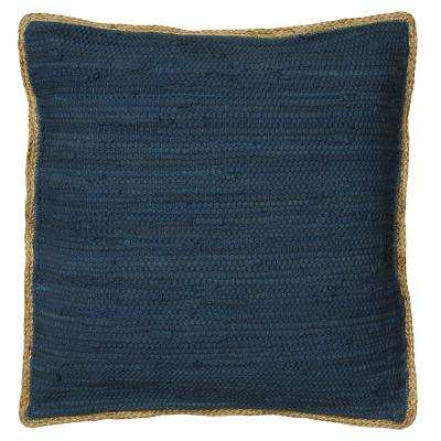 Riley Dark Blue 20 in. x 20 in. Chindi/Jute Decorative Throw Pillow