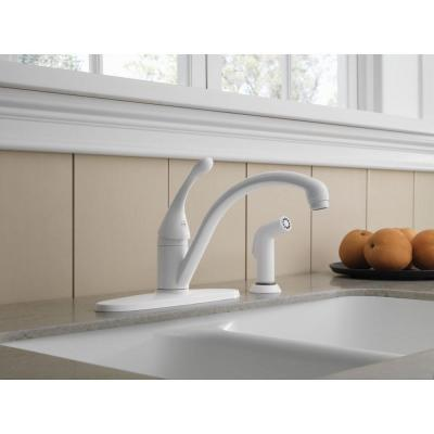 Collins Single-Handle Standard Kitchen Faucet with Side Sprayer in White