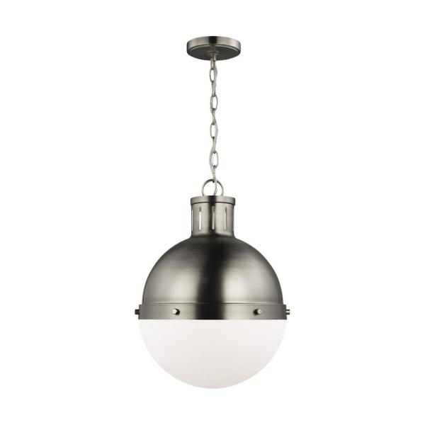 Hanks 1-Light Antique Brushed Nickel Medium Pendant with Smooth White Glass Shade