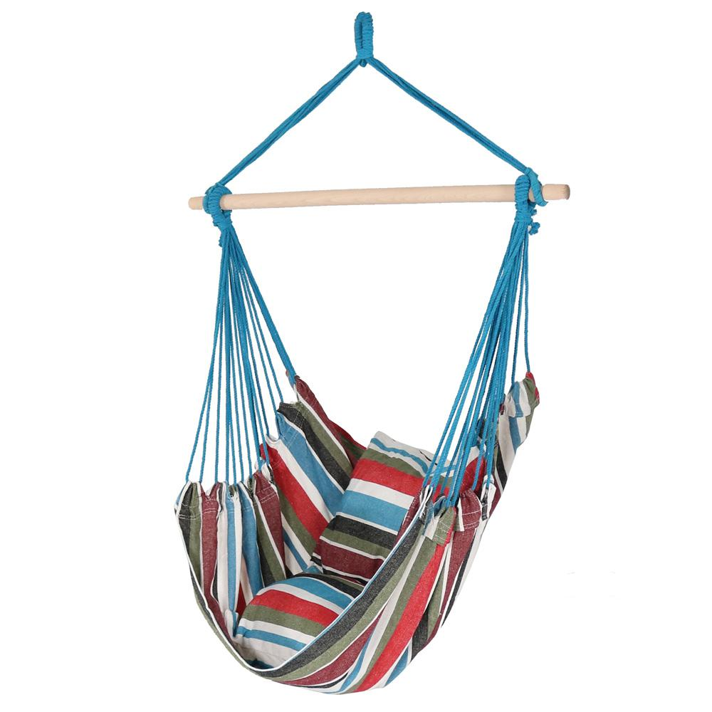 3.5 ft. Fabric Hanging Hammock Swing with Two Cushions in Cool
