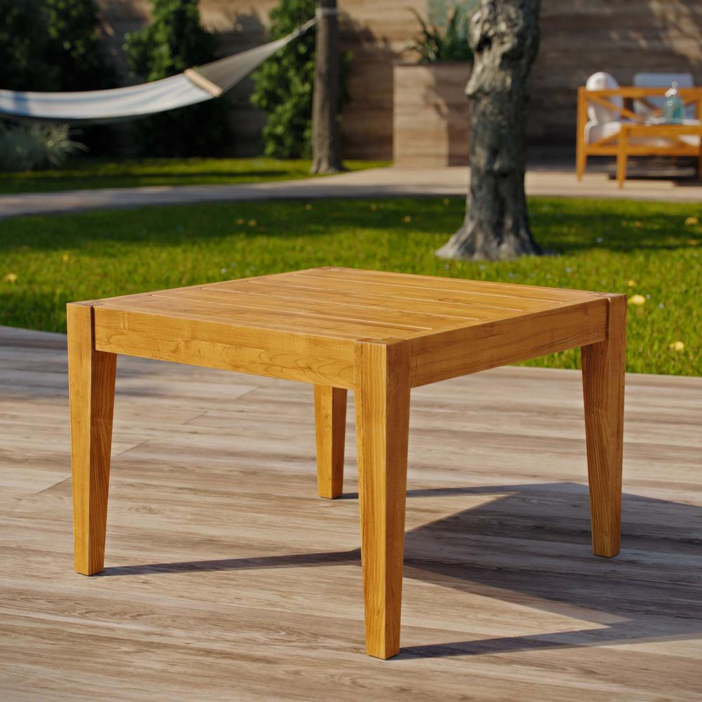 MODWAY Northlake Natural Grade A Teak Wood Outdoor Side Table