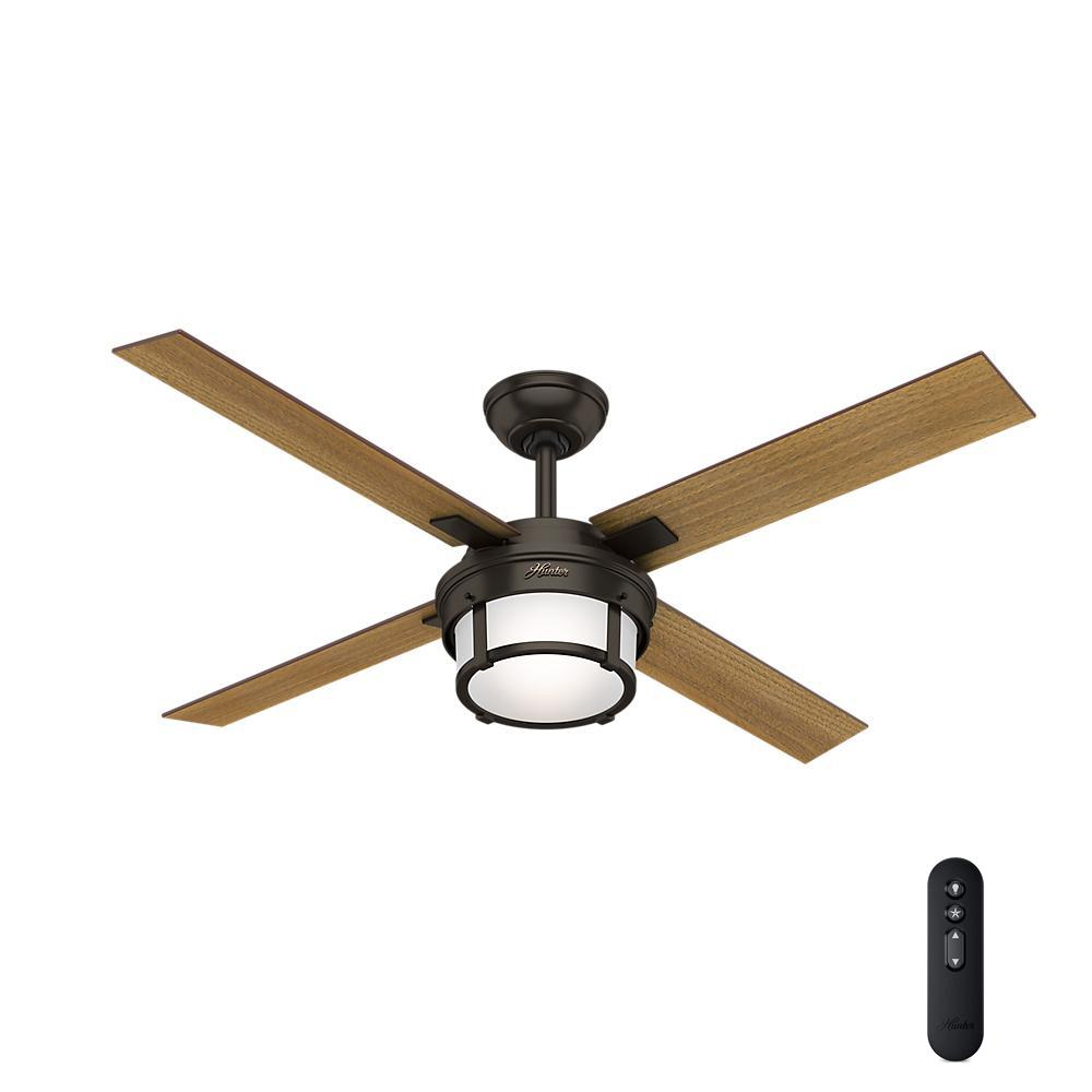 Hunter Summerlin 48 Noble Bronze Ceiling Fan With Light: Hunter Crown Canyon 52 In. LED Indoor/Outdoor Noble Bronze