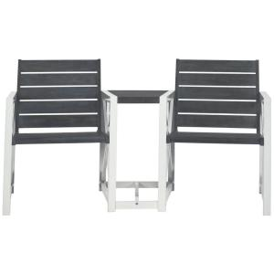 Jovanna 61.8 in. 2-Person White/Ash Grey Acacia Wood Outdoor Bench