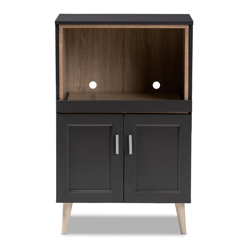Baxton Studio Tobias Dark Gray and Oak Brown Kitchen Cabinet 147-8665-HD