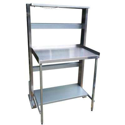 Space Saving 33 in. Stainless Steel Folding Workbench Station