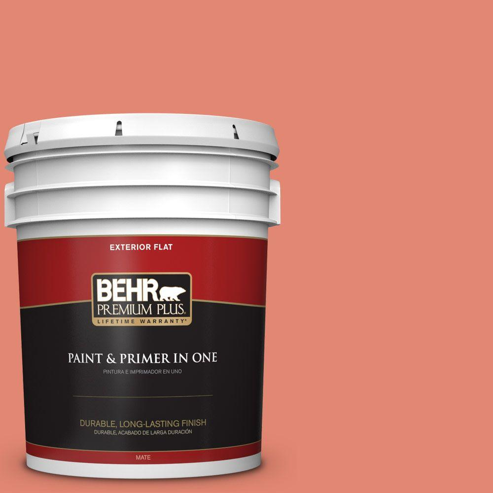 BEHR Premium Plus 5-gal. #200D-5 Guava Jam Flat Exterior Paint