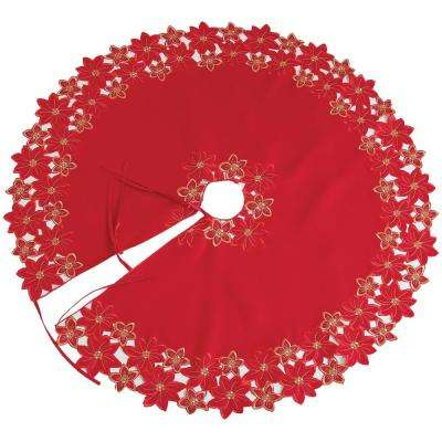 48 in. Festive Poinsettia Embroidered Cutwork Holiday Round Tree Skirt