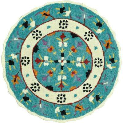 Gardenia Lifestyle Collection Teal/Ivory 3 ft. Round Area Rug