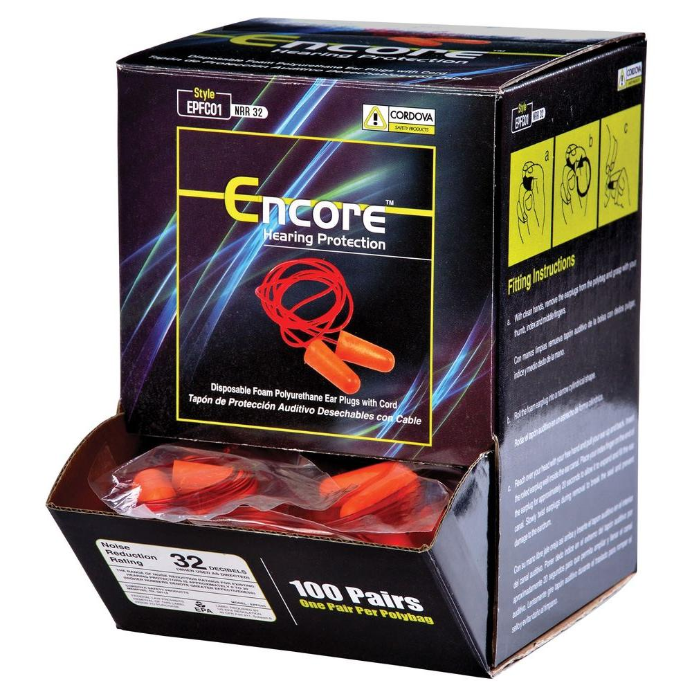 Encore Ear Plugs Corded Disposable (100 per Box)