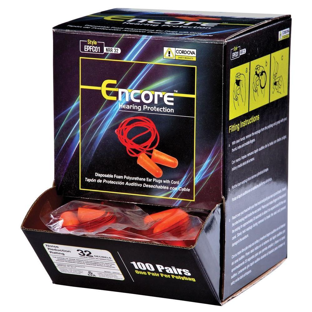 Cordova Encore Ear Plugs Corded Disposable (100 per Box) by Cordova