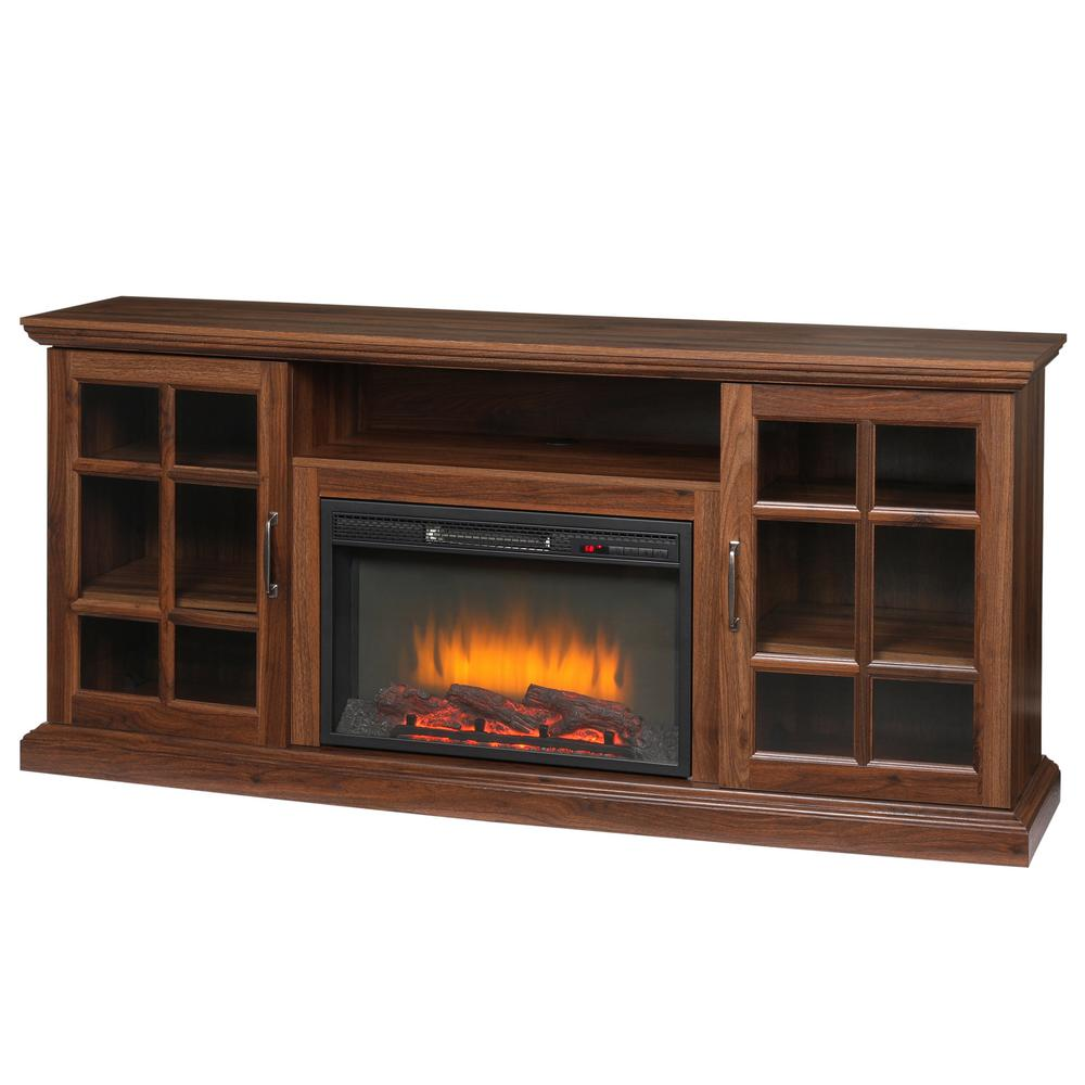 Home Decorators Collection Edenfield 70 in. Freestanding Infrared Electric Fireplace TV Stand in Burnished Walnut