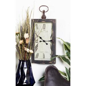Black and White Cabinet-Style Rectangular Wall Clock with Latched Glass Door...