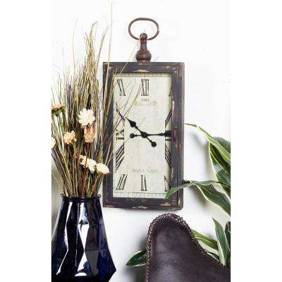 Black and White Cabinet-Style Rectangular Wall Clock with Latched Glass Door and Handle