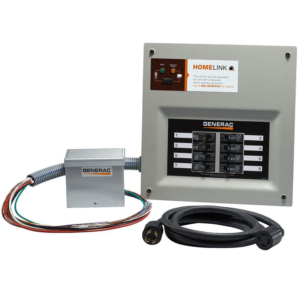 generac upgradeable manual transfer switch kit for 8 circuits 6854 rh homedepot com Transfer Switches for Portable Generators Generator Transfer Switch Kit