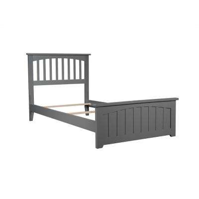 Mission Twin Traditional Bed with Matching Foot Board in Grey