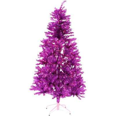 7 ft. LED Festive Pink Tinsel Christmas Tree with Clear Lighting