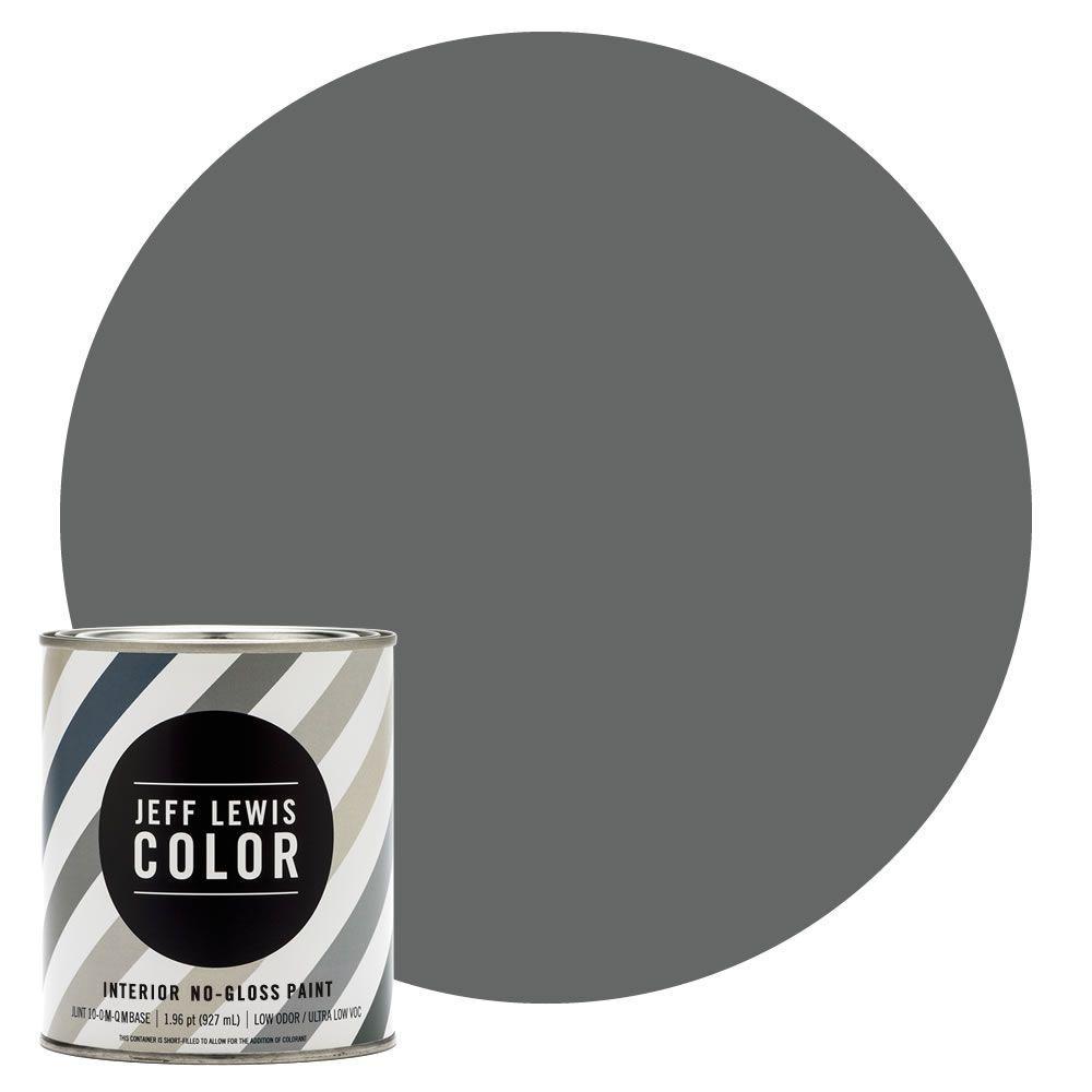 Jeff Lewis Color 1-qt. #JLC416 Carbon No-Gloss Ultra-Low VOC Interior Paint