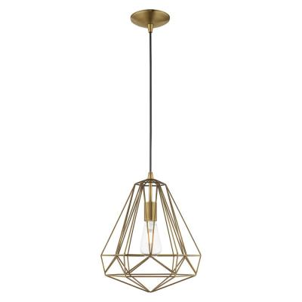 1-Light Antique Brass Geometric Mini Pendant