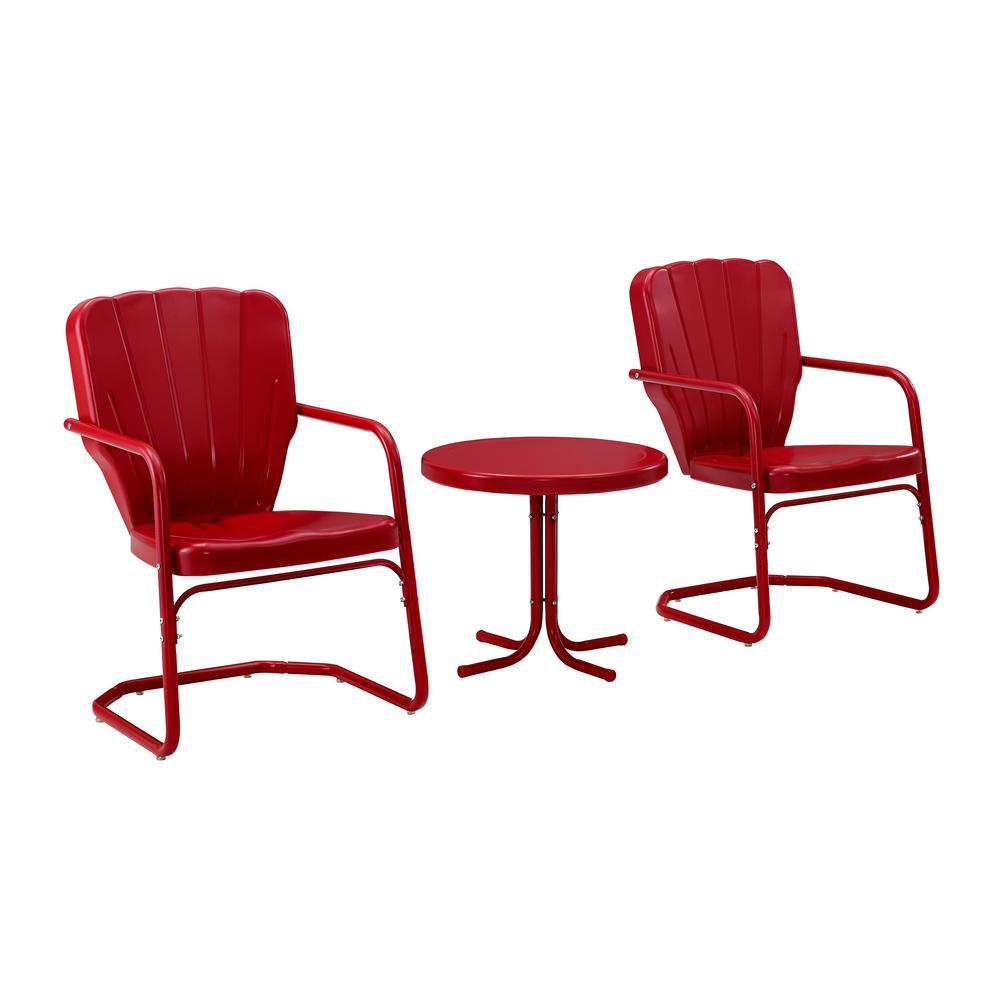 Ridgeland Red 3-Piece Metal Patio Conversation Set