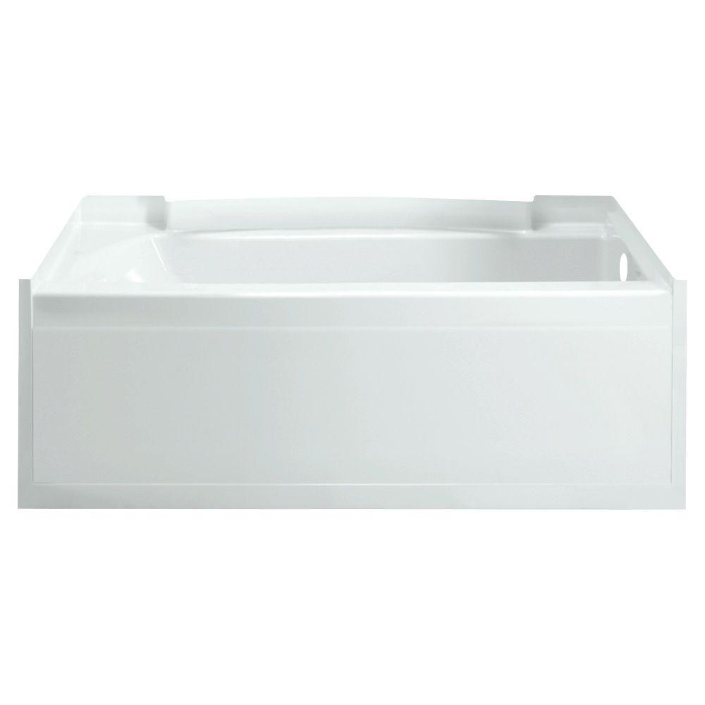 Accord 5 ft. Right Drain Rectangular Alcove Soaking Tub in White