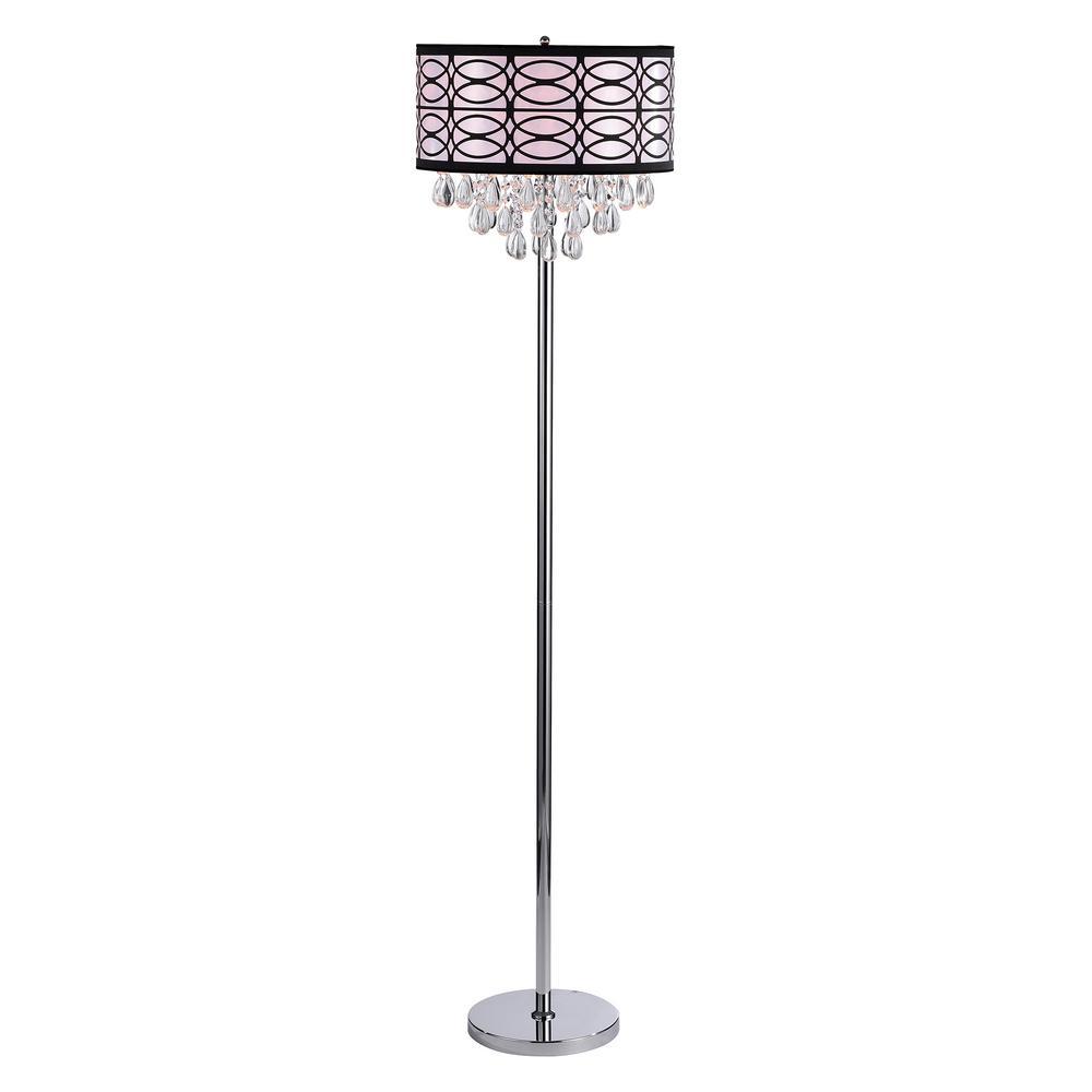 Lola 64 in. Chrome 3-Light Fabric Crystal Floor Lamp