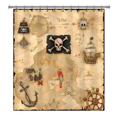 Pirate's Treasure 72 in. Map Shower Curtain