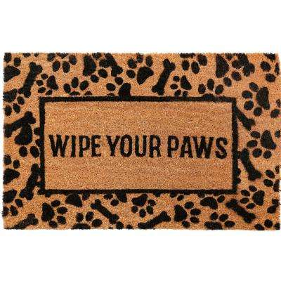 Comfy Pooch Wipe Your Paws Brown 18 in. x 28 in. Coir Mat