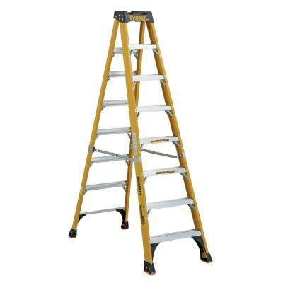 8 ft. Fiberglass Stepladder, 12 ft. Reach 500 lbs. Load Capacity, Exceeds Type IAA Standards