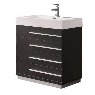 Livello 30 in. Bath Vanity in Black with Acrylic Vanity Top in White with White Basin