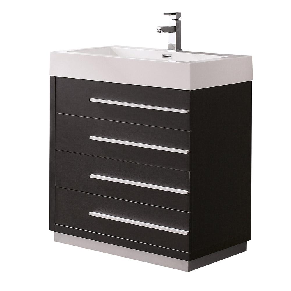 Fresca Livello 30 in. Bath Vanity in Black with Acrylic Vanity Top ...