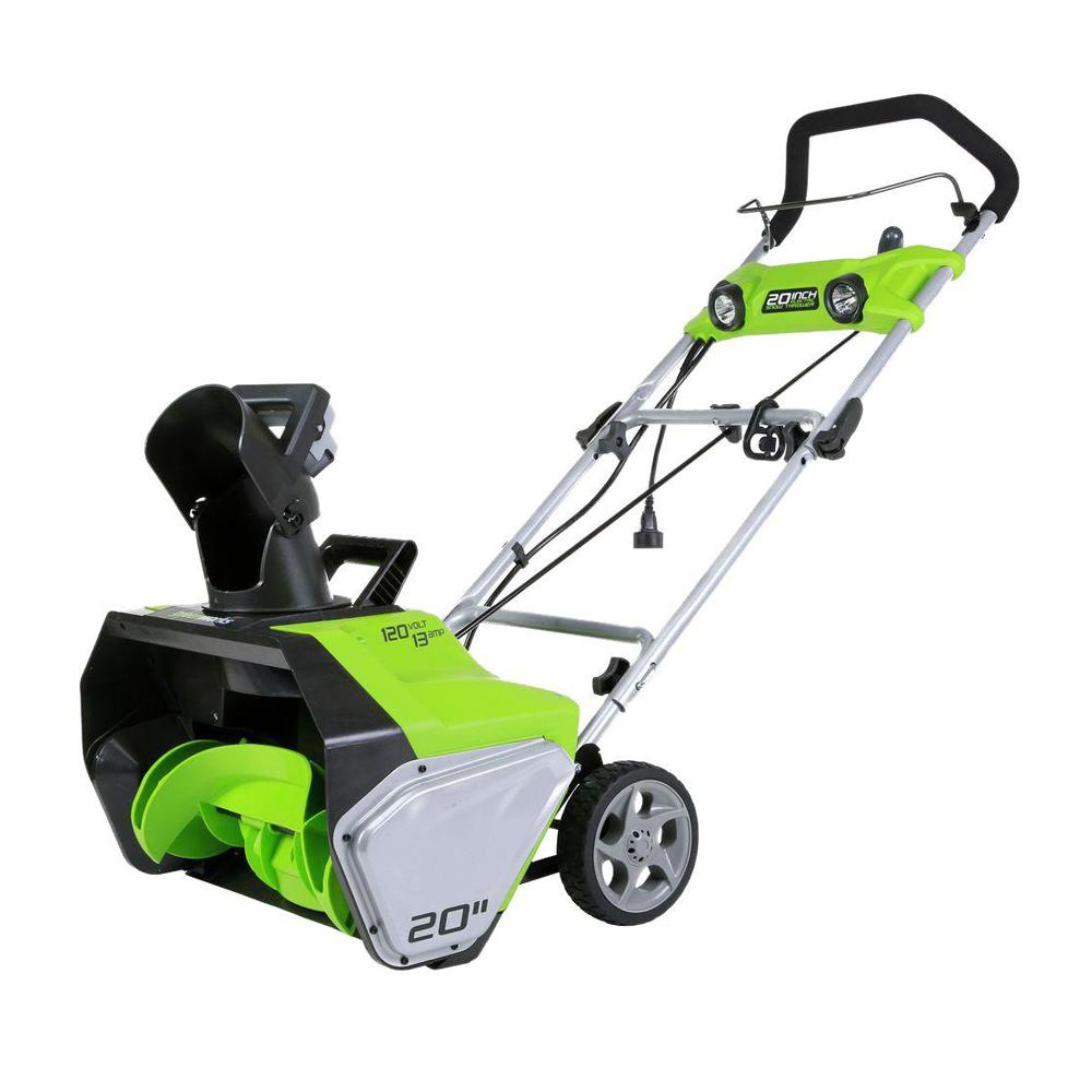 Greenworks 20 In 13 Amp Electric Snow Blower With Lights Gw2600202