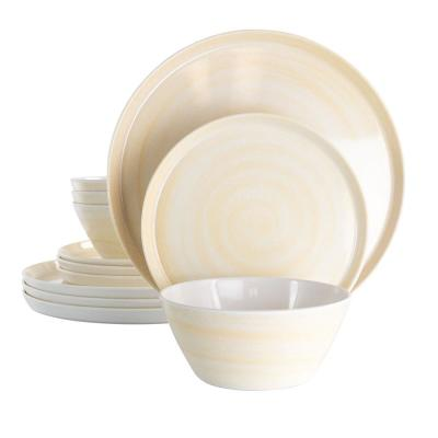 12-Piece Crafted Clay Cream Light Melamine Dinnerware Set (Service for 4)
