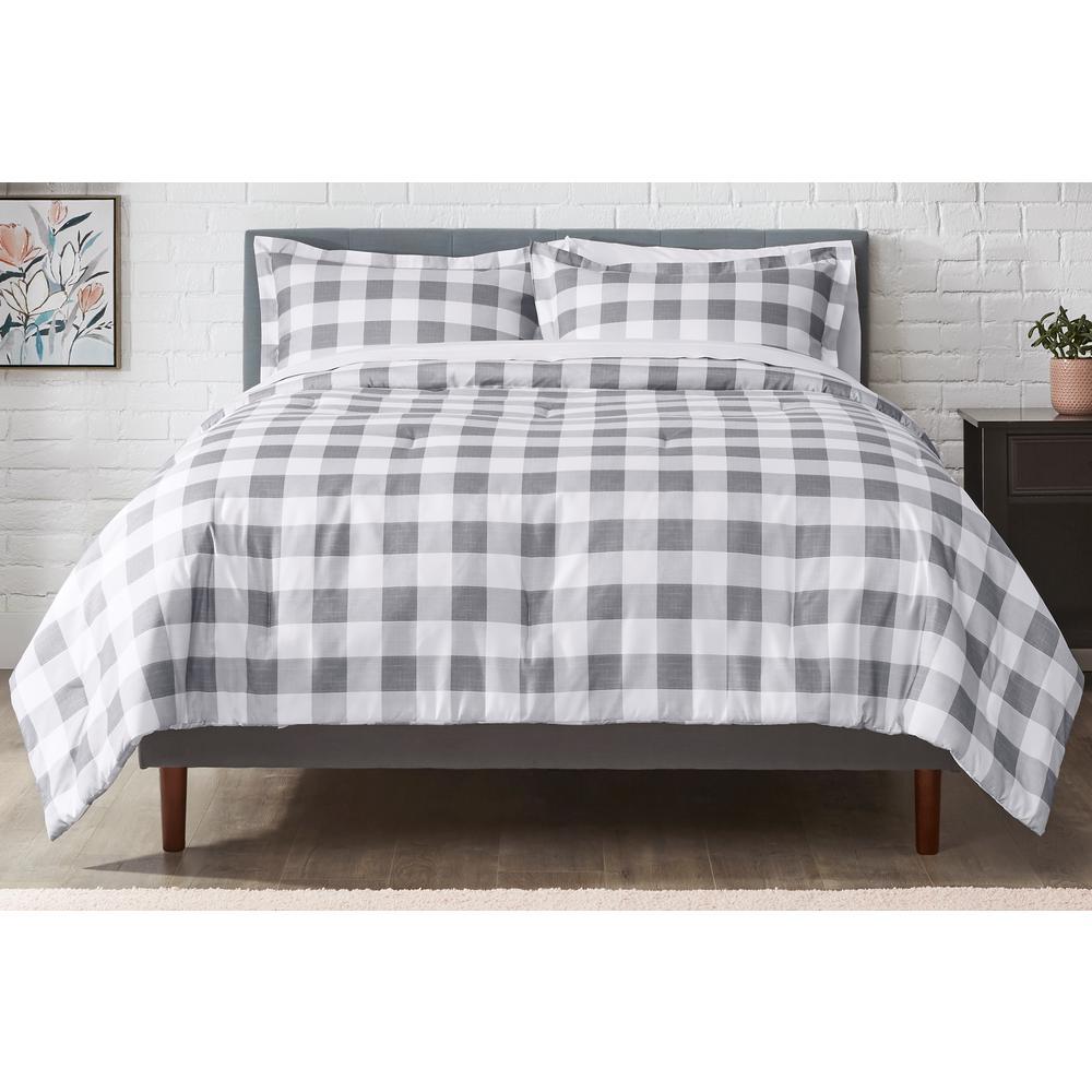 Tatefield 3-Piece Stone Gray Reversible Gingham Full/Queen Comforter Set