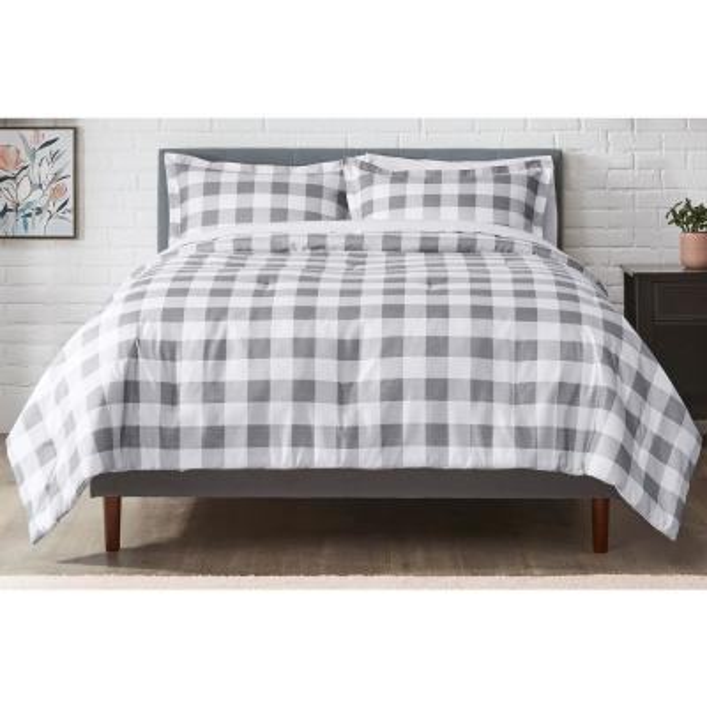 Tatefield 2-Piece Stone Gray Reversible Gingham Twin Comforter Set