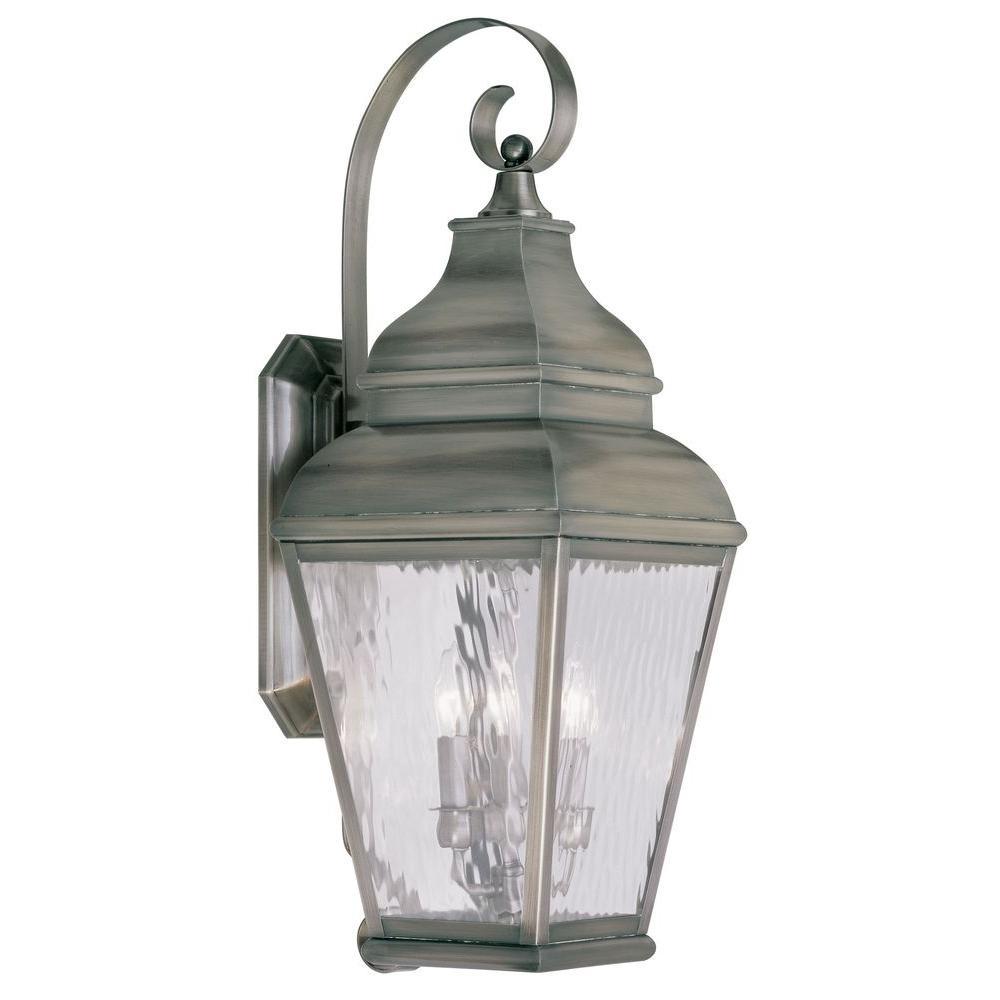 Providence Wall-Mount 3-Light Vintage Pewter Outdoor Incandescent Lantern