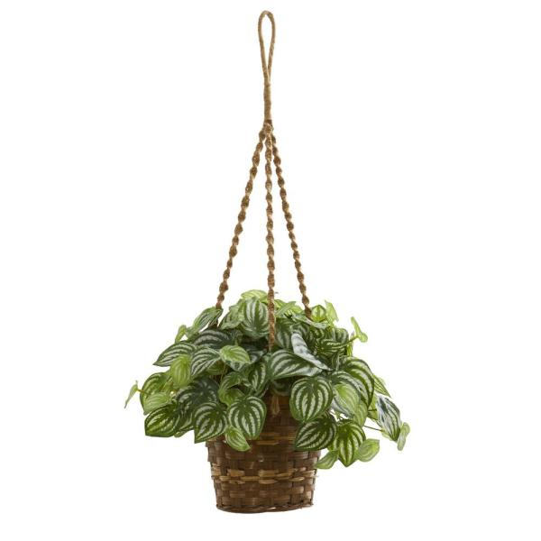 Indoor Watermelon Peperomia Artificial Plant in Hanging Basket