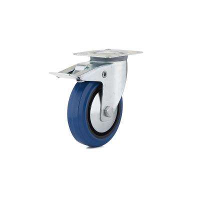 5 in. Heavy-Duty Blue Elastic Rubber Swivel Caster