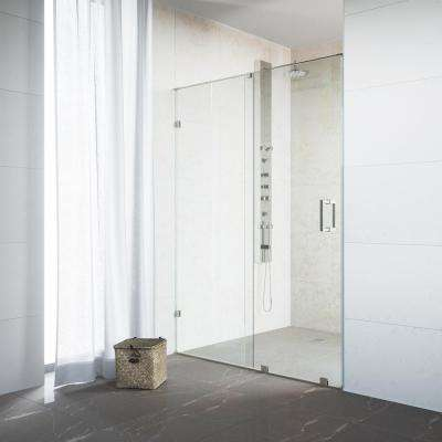Ryland 62 in. x 71.5 in. Semi-Framed Sliding Shower Door in Stainless Steel with 3/8 in. Clear Glass