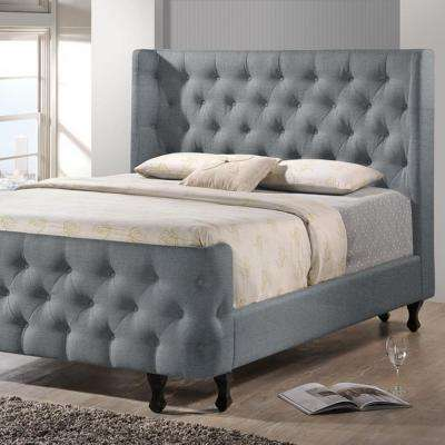 Francesca Transitional Gray Fabric Upholstered King Size Bed. Baxton Studio   Beds   Headboards   Bedroom Furniture   The Home Depot
