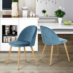 Dining Blue Mid Century Modern Kitchen Velvet Upholstered Accent Leisure Chairs (Set of 2)