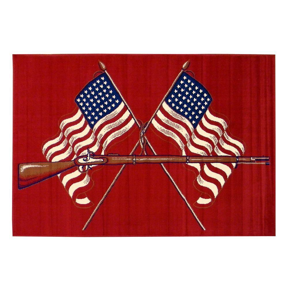 American Patriot Design American Flags and Gun Red 5 ft. 2